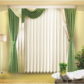 Зелёные шторы с ламбрекеном на одну сторону ДОМИНИКАНА