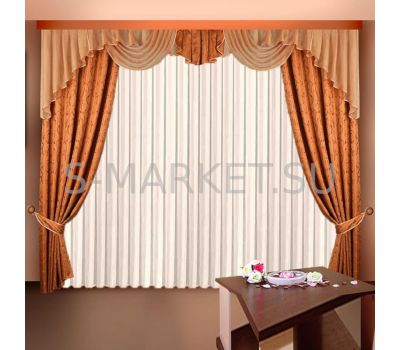 Шторы с тюлем для комнаты ЕЛЕНА