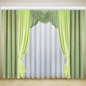 Готовые недорогие шторы с ламбрекеном для комнаты ИОЛАНТА