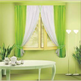 Шторы - тюль зелёного цвета для кухни КАТЯ