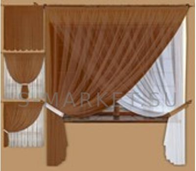 Коричневые шторы для кухни из вуали ГЕСТИЯ