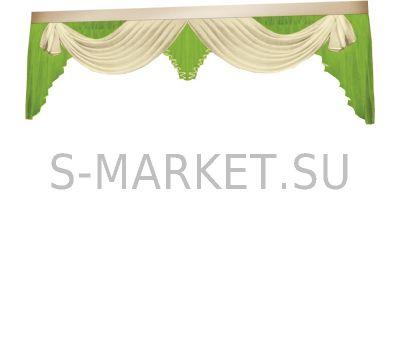 Ламбрекен для спальни РУТА молочно-зеленый