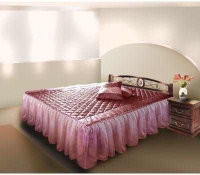 Покрывало трёхстороннее с воланами из вуали на кровать в спальню