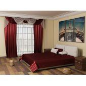 Бордовая спальня (Покрывало и шторы для спальни)