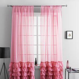 Комплект тюля для детской из вуали с рюшей НОА цвет розовый